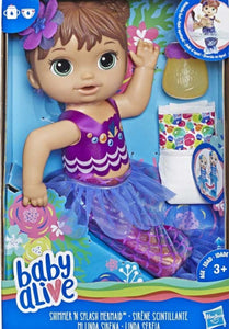 BABY ALIVE SHIMMER N SPLASH MERMAID BRN HAIR