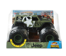 HOT WHEELS MONSTER TRUCKS - ARMY JEEP - 1:24 SCALE