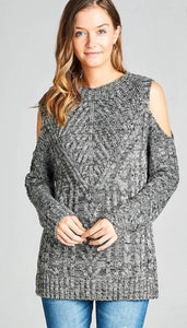 Open Shoulder Cable Sweater