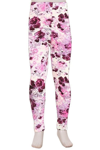 Kids Purple Floral Leggings