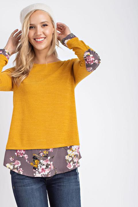 Maureen Floral Mustard Top