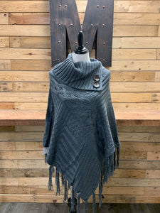 Cabel Knit Poncho With Tassels