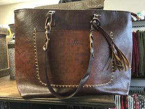 Leather Braid Tote