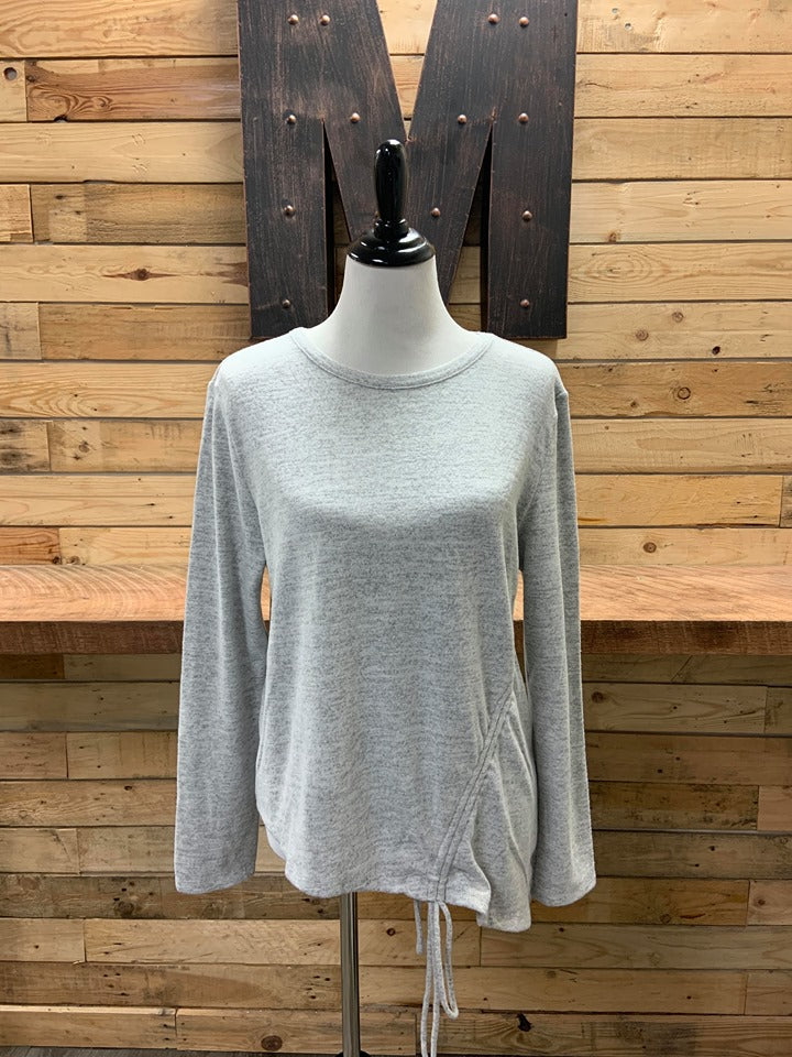 Reese Ruched LS Grey Shirt