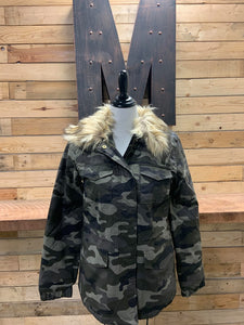 Riley Fur Collar Jacket-Camo