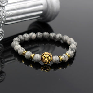 Fashion Masculinas Natural Marble Stone Lion Head Bracelet