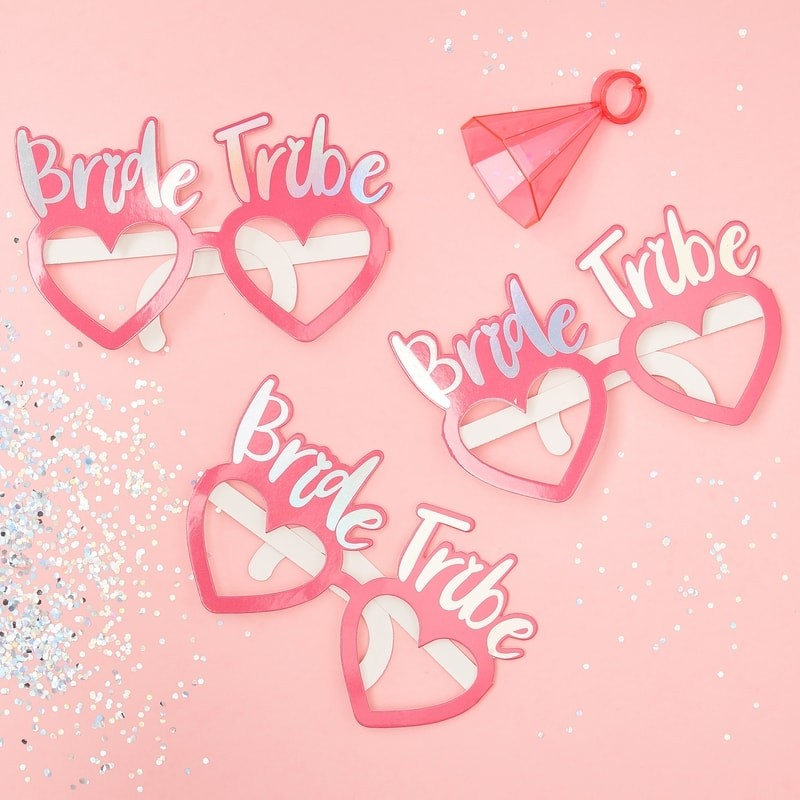 Pink Bride Tribe JGA Spaß Brillen - Bride Tribe