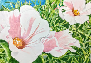 Pink Moss Roses splash across this 10 x14 inch painting by Karen Kaffenberger, Three Trails Art Studio