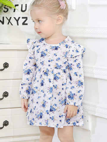 Toddler Girls Calico Print Frill Trim Dress