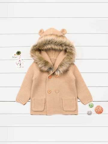 Toddler Girls Faux Fur Hooded Sweater Coat