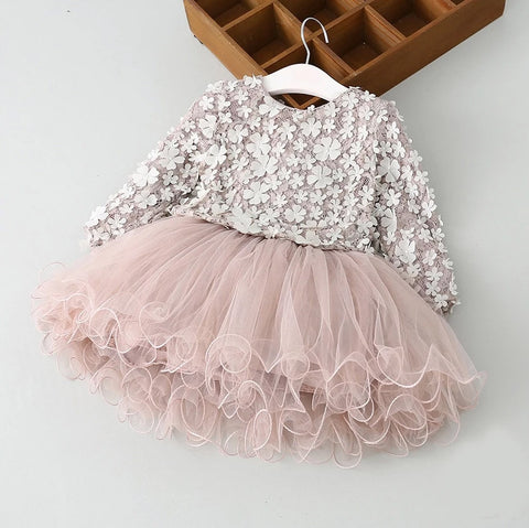 Girls TuTu 3D Flower Party Dress