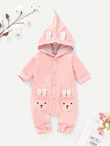 Baby Cartoon Pattern Button Hooded Onesie