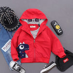 Boys Hooded Wind Breaker Jacket with Dinosaur