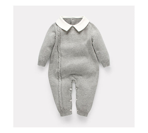Unisex Thick Cotton Romper with Collar