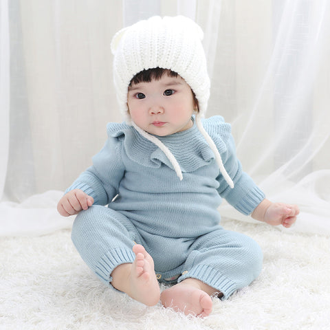 Blue Knitted Turn Down Collar Onesie