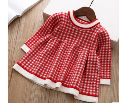 Winter Knitted Plaid Baby Dress