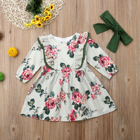Girls Floral Long Sleeve Autumn Dress