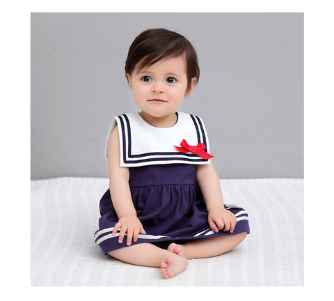 Girls Sailor Dress with Box Collar