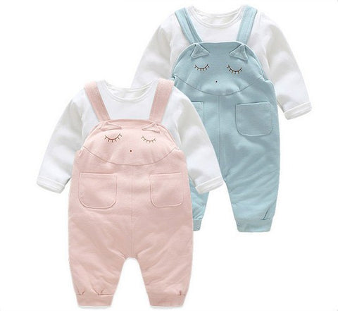 2 Piece Unisex 'Sleepy Cat' Overalls & T-Shirt