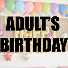 Adult's birthday balloons and party supplies