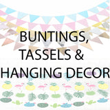 Buntings, tassels and hanging decor