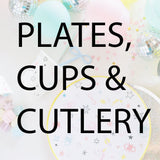 Plates, cups and cutlery collection