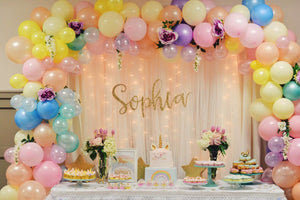 pastel color balloon arch