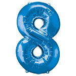 number 8 blue foil balloon