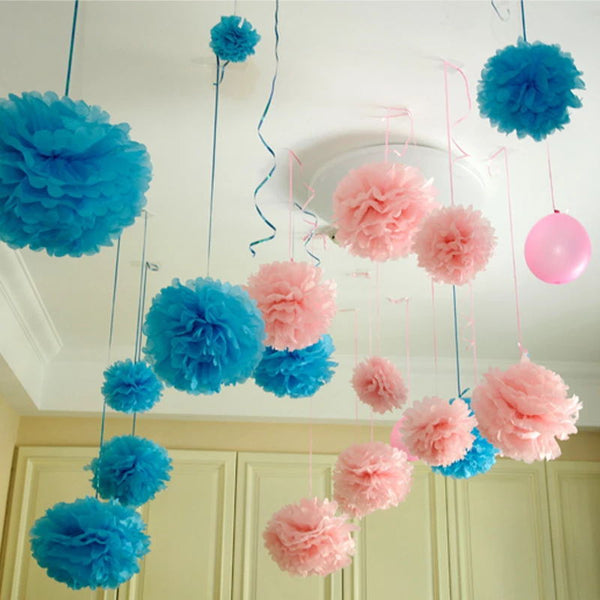 Pom Pom Hanging Tissue Decoration - Yellow - PartyMonster.ae