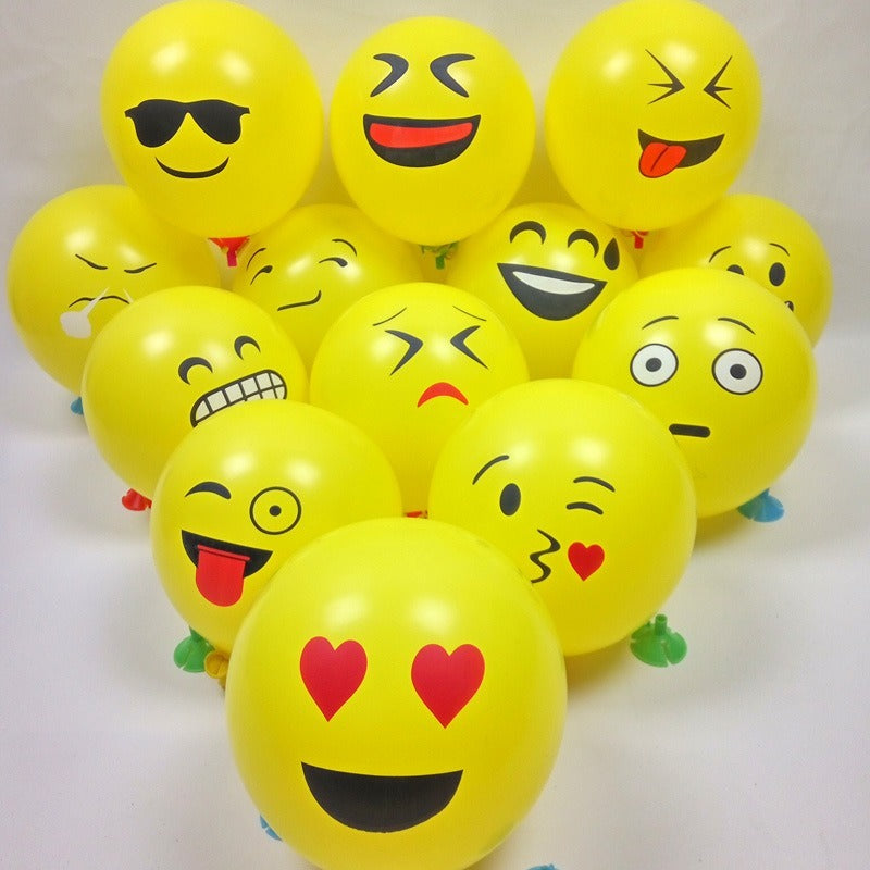Smiley yellow different faces 12inches Balloons each - PartyMonster.ae