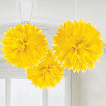 Yellow Hanging Decorations 3 pcs, 16inches