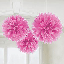 Pink Hanging Decorations 3 pcs, 16inches