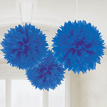 Blue Hanging Decorations 3 pcs, 16inches