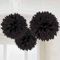Black Hanging Decorations 3 pcs, 16inches - PartyMonster.ae
