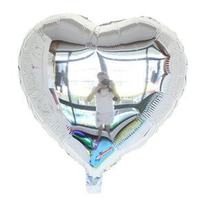 "Silver Color Heart Shape Balloon - 18"" - PartyMonster.ae"