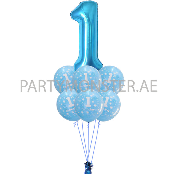 1st birthday boy blue balloons bouquet 2 - PartyMonster.ae