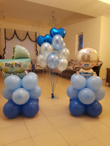 Baby Boy Pram Balloon Pillar - PartyMonster.ae