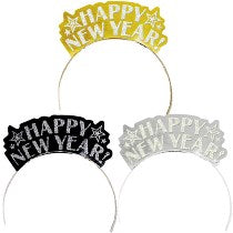 Happy New Year Paper Tiaras 12 pcs - PartyMonster.ae