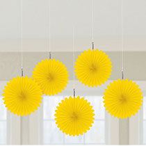 Yellow Mini Fan Decorations, 6 inches,  5 pcs