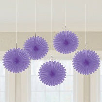 Purple Mini Fan Decorations, 6 inches,  5 pcs - PartyMonster.ae