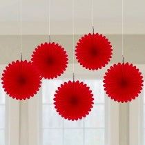 Red Mini Fan Decorations, 6 inches,  5 pcs - PartyMonster.ae