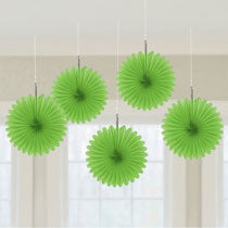 Green Mini Fan Decorations, 6 inches,  5 pcs