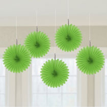 Green Mini Fan Decorations, 6 inches,  5 pcs - PartyMonster.ae