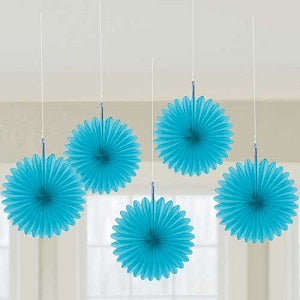 Blue Mini Fan Decorations, 6inches, 5 pcs - PartyMonster.ae