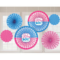 Girl or Boy? Fan Decorations 5 pcs - PartyMonster.ae