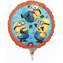 Minions 9inches Foil Balloon with stick - PartyMonster.ae