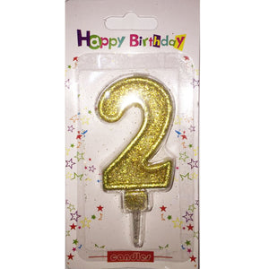 Number 2 birthday candle, golden glitter - PartyMonster.ae