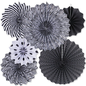 Black and white paper fans hanging decor for sale online in Dubai