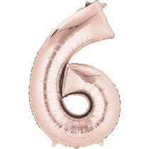 Rose Gold Number 6 Balloon - 40inches (Six) - PartyMonster.ae