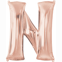 Alphabet N Rose Gold Foil Balloon - 40inches - PartyMonster.ae